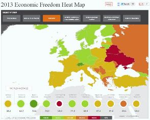 2013 Economic Freedom Heat Map