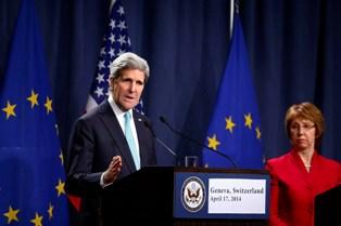 Джон Керри и Кетрин Эштон после встречи в Женеве