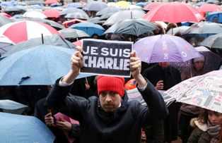 Митинг в Париже в поддержку Charlie Hebdo
