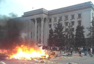 Горящий Дом профсоюзов в Одессе